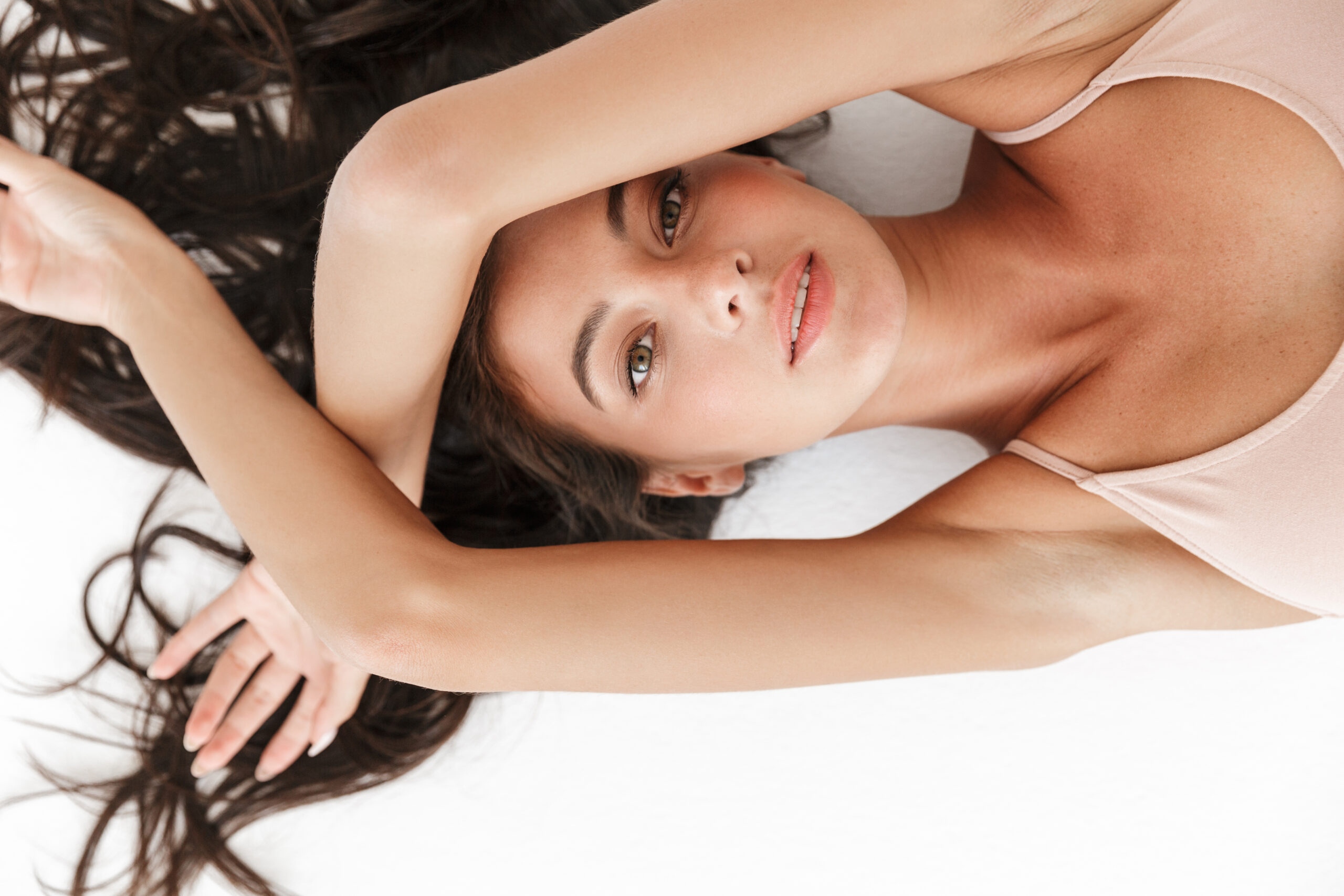 Portrait of a beautiful sensual young brunette woman